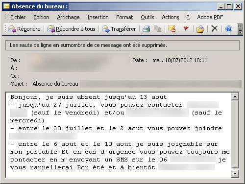 Savoir faire l 39 email d 39 absence - Message d absence de bureau ...