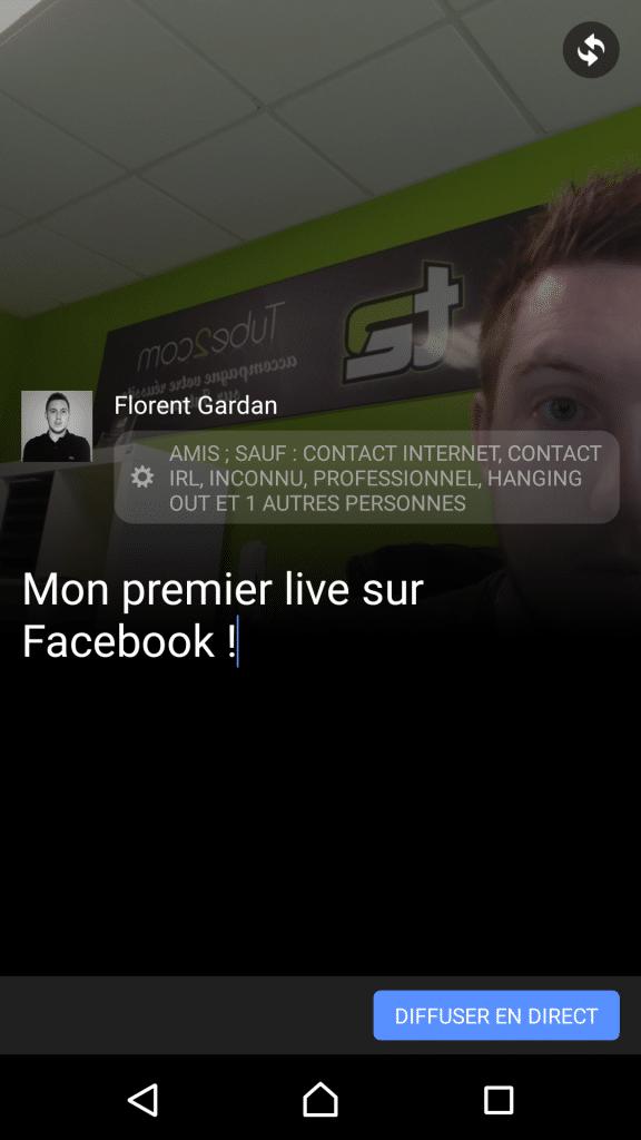 Paramètres de Facebook Live avec l'écriture de la description du live