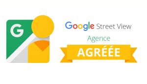Badge partenaire certifiant qu'une agence est agréée Google Street View