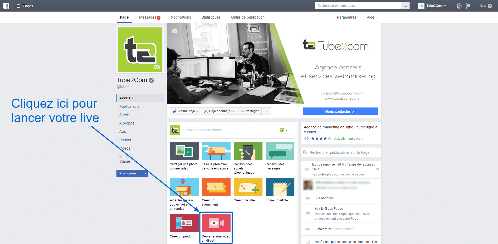 Facebook Live sur desktop - Tube2Com