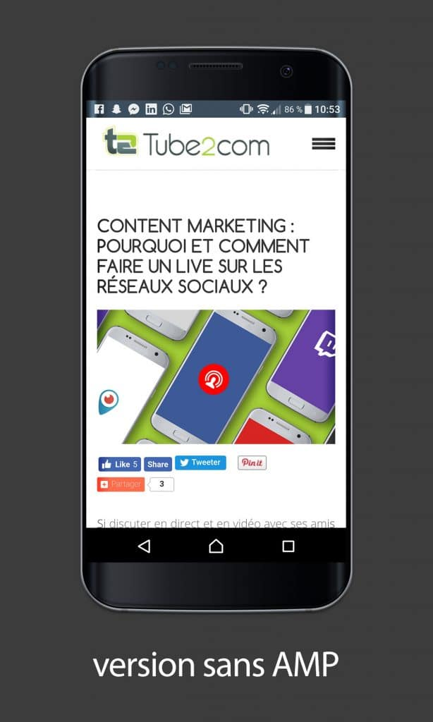 Article de blog de Tube2Com sans AMP