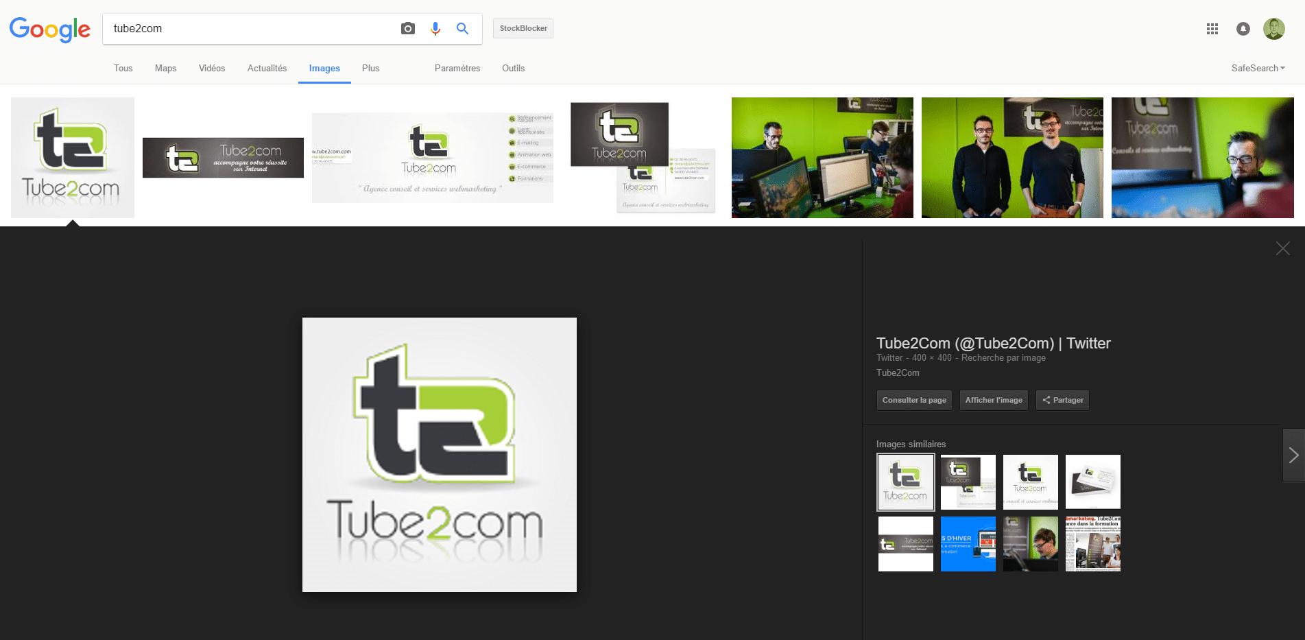 Nouvelle version de Google Images avec une recherche sur tube2com