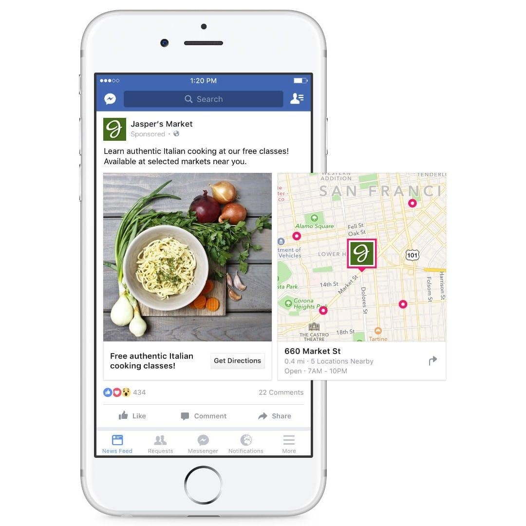 Exemple de publicité Local Awareness Ads Facebook sur smartphone