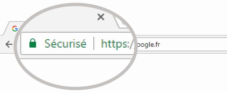 Logo du certificat de sécurité sur Google
