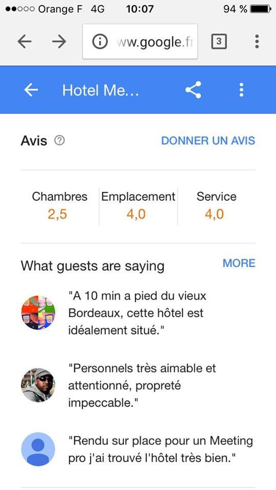 avis hotel google suivant services