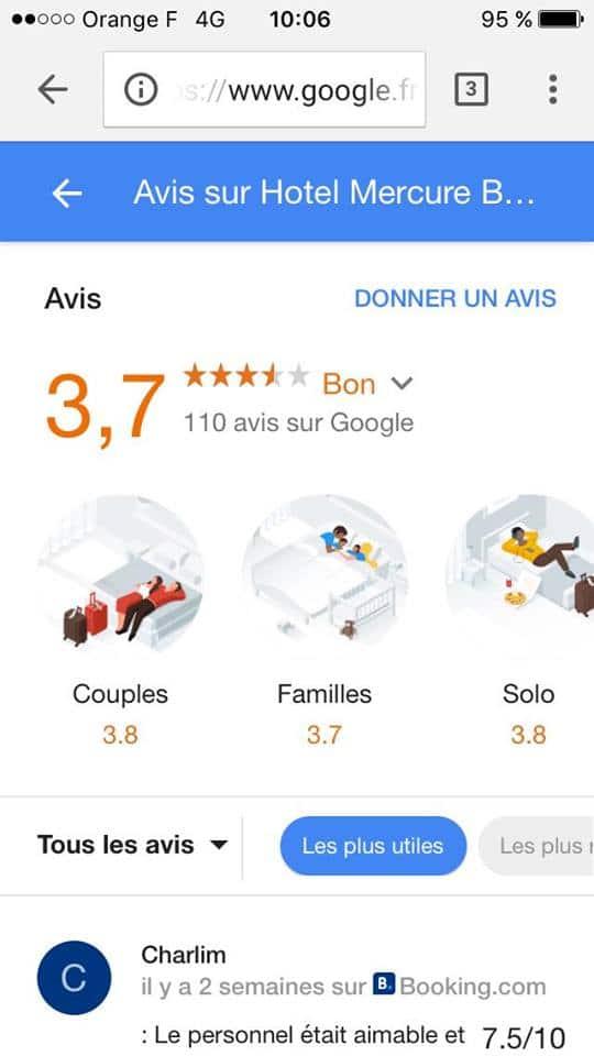 avis hotel google type voyageurs